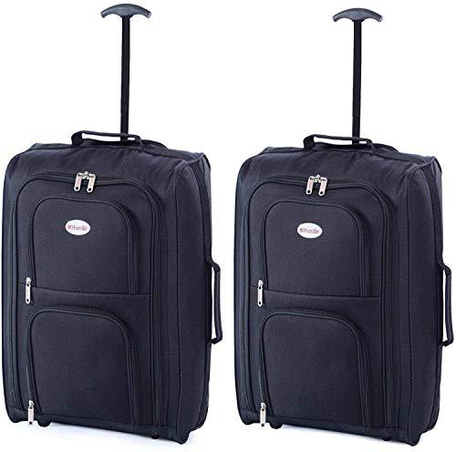 2 X RYANAIR EASYJET Carry ON Cabin Approved Hand Luggage Trolley Suitcase CASE