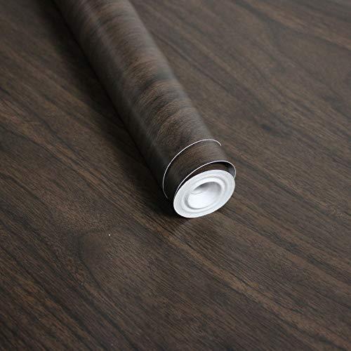 LZYMLG Pvc nórdico autoadhesivo papel pintado de grano de madera cocina dormitorio sala de estar dormitorio estudiantil diy pegatinas decorativas Nogal negro