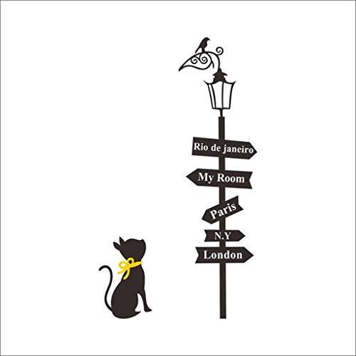 ZYING Preciosos Gatos Debajo de la Calle Pegatinas de la Pared de la Calle DIY Decoración del hogar Dibujos Animados de la Pared Pegatinas de Pared para el Fondo de Pantalla de la habitación