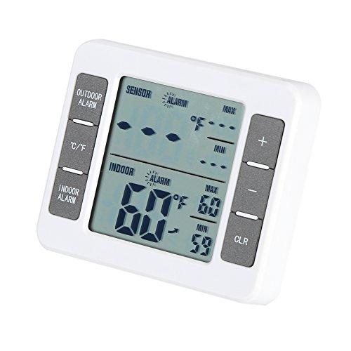 Digitale Termometro per Frigorifero Senza Fili Termometro del Frigorifero di Facile Lettura Internoesterno con Ampio Display LCD Memoria ad Alta Temperatura Bassa e Funzione di Allarme Udibile