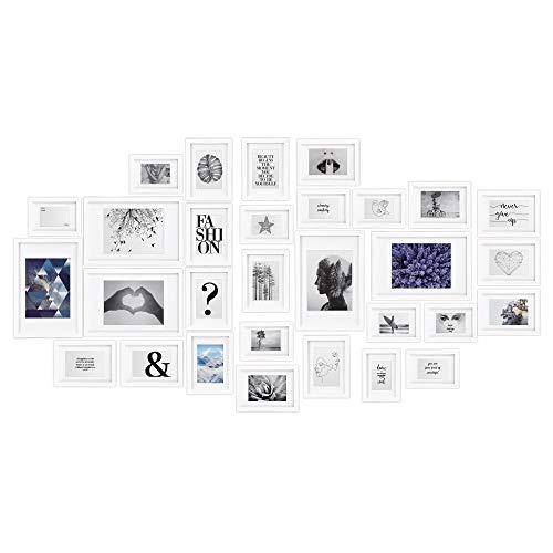 bomoe 30er Set Bilderrahmen Emotion Bilder-Collagen Fotorahmen aus Holz, Kunststoffglas, Metall-Aufhängung, Aufsteller & Passepartout - 10x 10,5x15cm / 15x 13x18cm / 5x 20x30cm - Weiß