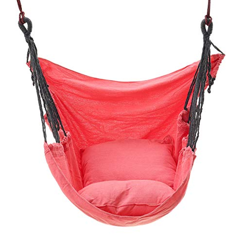 KITRION Canvas Chair Swing Hammock Hanging Chair Outside Indoor with Pillow Storage Bag Hammock (Color : Pink)