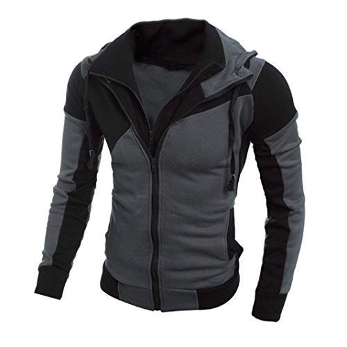 Tefamore Hommes Retro à manches longues à capuche Sweat à capuche Hauts Manteau (XL, Noir)