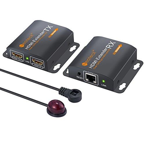 Neoteck HDMI Extensor 60m HDMI Repetidor con 2 Puertos HDMI Extender Loop IR Remoto 1080P HDMI Extensor de Ethernet Red más de solo Cable RJ45 Cat6 7 para PC DVD Sky HD Caja PS3/4 Satellite Box