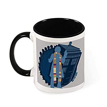 4th Doctor Who Silhouette Tom Baker Tardis Ceramic Coffee Mug Tea Mug,Gift for Women Girls Wife Mom Grandma,11 oz