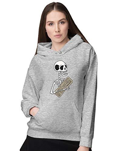 BLAK TEE Damen Funny Halloween Skeleton Keyboard Kapuzenpullover L