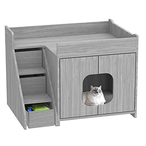 BANIROMAY Hidden Cat Litter Box Enclosure with Ladder Storage, Cat Washroom Storage Bench, Wooden...
