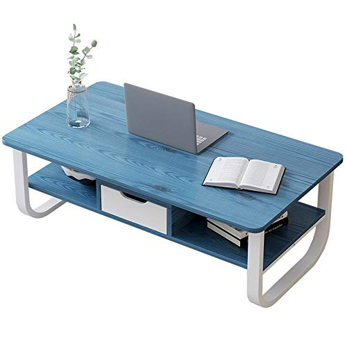 JBVG Coffee Tables Mid-Century Living Room Table TV Table Coffee Table With Storage Drawer Coffee Table For Living Room for Living Room Bedroom (Color : Blue, Size : 120x60x41cm)
