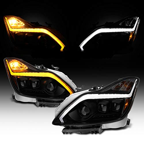 For 2008-2015 G37 / Q60 Coupe New Exclusive Black Smoked LED Sequential LED Signal Tube Projector Headlights