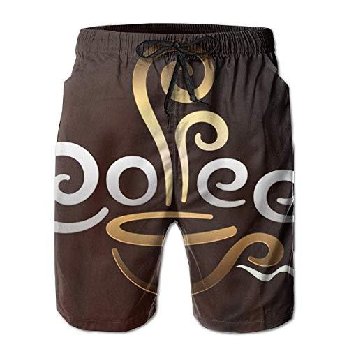 shizh Herren Badehose Kaffeetasse Willkommen lässige Sportswear Quick Dry Beach Shorts für Jungen Sommer