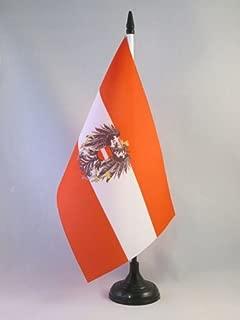 AZ FLAG Austria with Eagle Table Flag 5'' x 8'' - Austrian Coat of arms Desk Flag 21 x 14 cm - Black Plastic Stick and Base