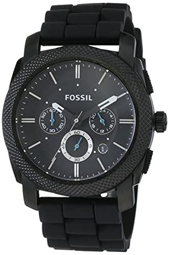 Fossil Herren Chronograph Quarz Uhr mit Kautschuk Armband FS4487