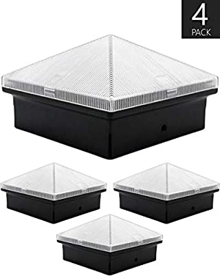 Davinci Pyramid Solar Post Cap Lights - Outdoor Lighting for 4x4 Wooden and Vinyl Posts - Bright Warm White LEDs - Slate Black (4 Pack)