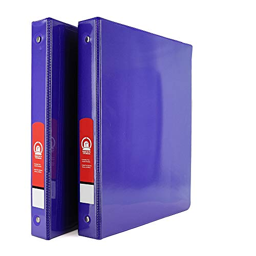 """Emraw Super Great 1"""" 3-Ring View Binder with 2-Pockets - Available in Purple - Great for School, Home, & Office (2-Pack)"""