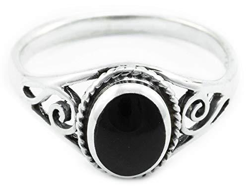 Windalf Zarter Ring Lucy 0.9 cm Onyx mit Lebens Spiralen Midi Ring 925 Sterlingsilber (Silber, 58 (18.5))