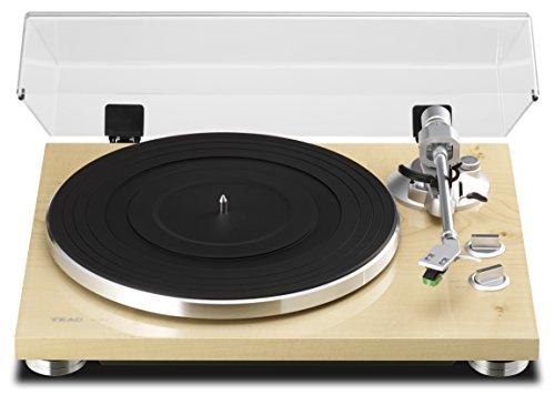 Teac TN-300(NA) HiFi-Plattenspieler (Riemenantrieb, 33/45rpm, USB-Ausgang für Mac/PC, Line/Phono Umschalter, Schallplattenspieler MDF-Gehäuse mit glänzender Oberfläche), Naturfarben