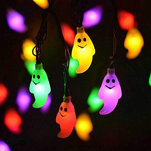 JAY-LONG Solar Powerd Halloween Ghost Decora Lamp, 30 LED Light String, Outdoor IP65 Waterproof Decoration Lighting, 6M, 2 Lighting Modes,colored