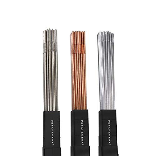 STAHLWERK Schweißstäbe Set ER70S-G3 Stahl & ER307Si Edelstahl hochlegiert & ER4043Si5 Aluminium/Ø 1,6 x 500 mm/je 1kg WIG Schweißzusatz