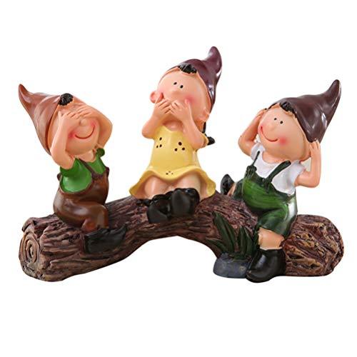 DOITOOL Tocón de Resina estatuilla Elfo Ornamento Miniatura Sentado muñeca Figuras Micro Paisaje Escultura jardín Estatua para la habitación del hogar decoración de la casa de muñecas