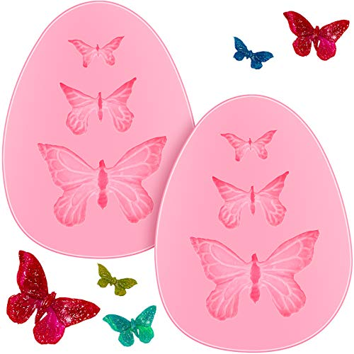 2 Pieces Butterfly Silicone Molds MiniButterfly Fondant Cake Baking Mold Cupcake Decoration Tool for Homemade Cake DIY Polymer Clay