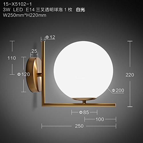 Lampe murale suhang Chambre Lit Boule de verre Vêtements Hyundai de Marche en applique murale à LED E143wled Trident Transparent White