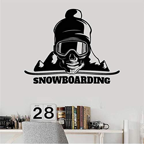 Muursticker, snowboard schedel 58x74cm pvc diy art home decor voor kinderkamer woonkamer muurtattoo verwijderbare douane kantoor verjaardagscadeau