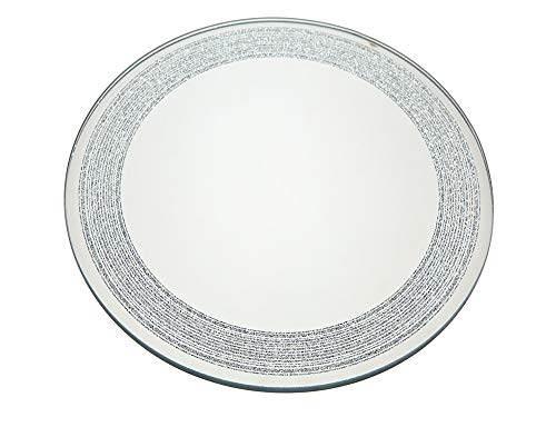 STUDIO SILVERSMITHS Pillar Plate Mirror with Silver Lines for Candles - 8'
