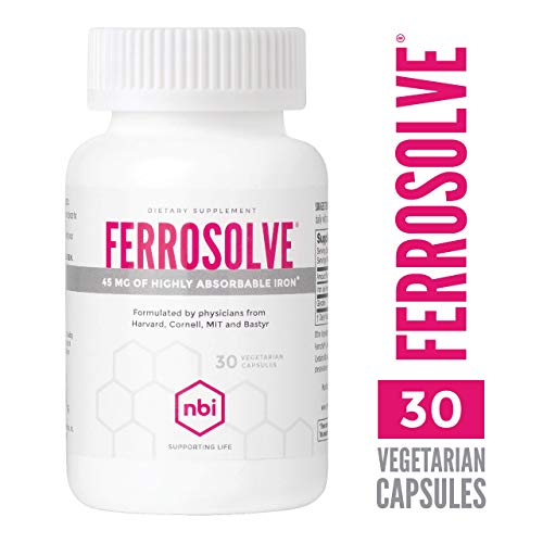 NBI FerroSolve, Iron Supplement 45mg | Highly Absorbable Chelated Iron from Ferrous Sulfate | 30ct Veggie Capsules