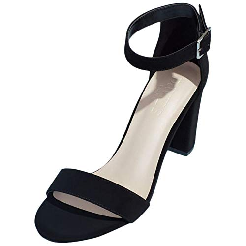David's Bridal Block Heel Ankle Strap Sandal Style Arya, Black, 8.5
