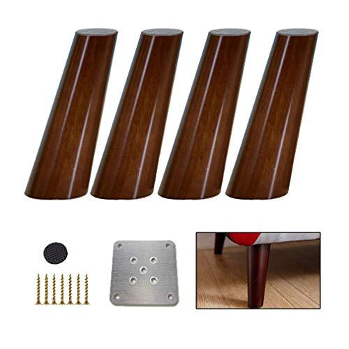 BAIF Träsoffa ben, sluttande ner u0026; oakut; Valnöt möbler ben, benbord, universal för bufféer av kaffebyrå skänk, 10 storlekar (30 cm/11,8 tum, 4 delar)