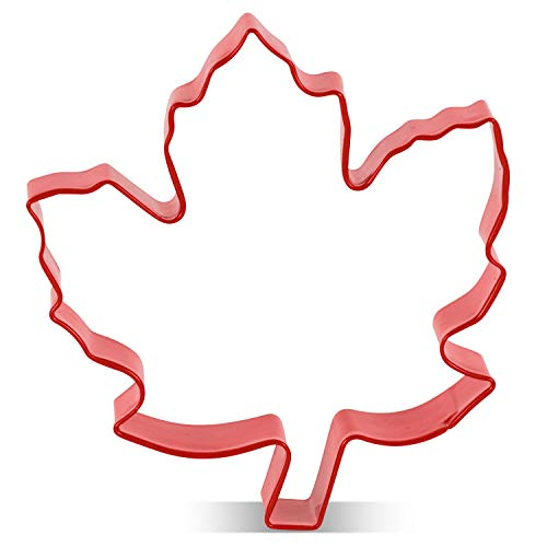 LILIAO Fall Thanksgiving Maple Leaf Cookie Cutter - 3.5 x 3.5 inches - Red Color Coated Stainless Steel