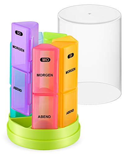 Eono by Amazon - Tablettenbox 7 Tage 2 Fächer - Pillenturm Medikamentenbox Pillendose Morgens Abends Reise