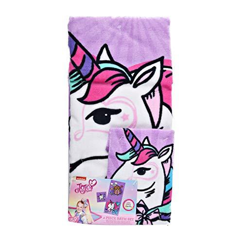 Bath Set JoJo Siwa 2 piezas, toalla y paño de lavado, 100% algodón, BowBow Unicorn para niños adolescentes y niñas