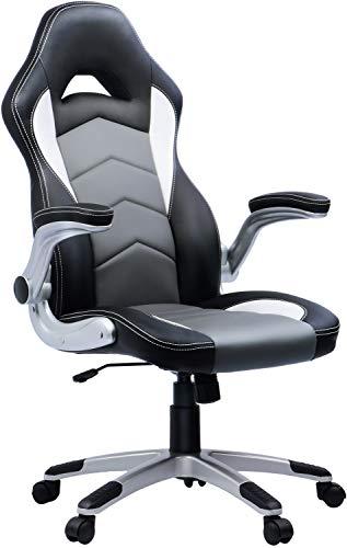 Umi Bürostuhl Gaming Stuhl Chefsessel Drehstuhl Gaming Stuhl Computerstuhl Höhenverstellung Schreibtischstuhl PC Stuhl Ergonomisches Racing Stuhl Gaming Sessel Grau