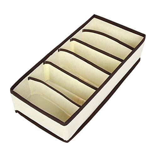 Fenteer Cajas de Almacenamiento de Ropa Interior, Caja de Almacenamiento Plegable de Ropa Interior, organizadores de cajones de Ropa Interior con - 6 cuadrícula