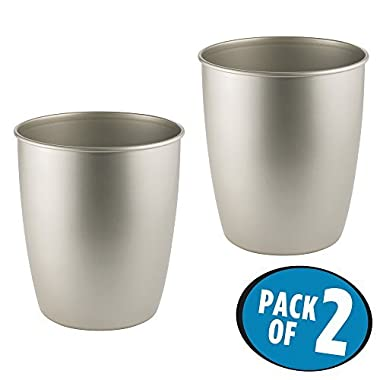 mDesign Round Metal Small Trash Can Wastebasket, Garbage Container Bin for Bathrooms, Powder Rooms, Kitchens, Home Offices - Pack of 2, Durable Steel in Satin Finish