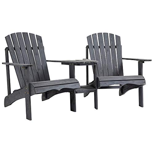 Outsunny Wooden Outdoor Double Adirondack Chairs with Center Table and Umbrella Hole, Perfect for Lounging and Relaxing, Grey