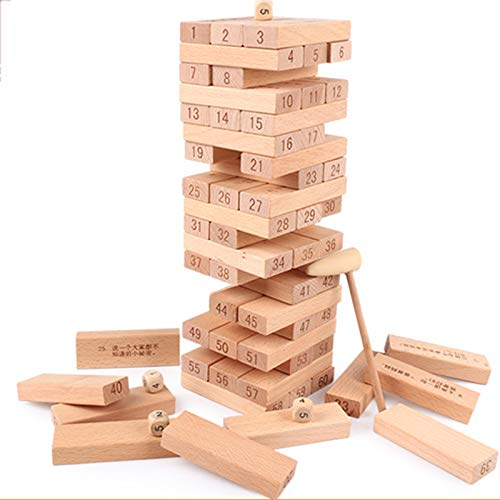 TISESIT INDOOR Jenga Classic Game, Colorful, Colours Desktop Toy, Stacking Game, Building Blocks, Party Game, Classic Wooden Game