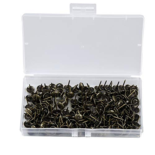 200PCS Antike Polsternägel Dekorative Möbel Nägel Set Thumb Tack Push Pins DIY 11 * 16 MM / 0,43 * 0,62 zoll Nailhead Blumenmuster Kopf Nagel (Bronze)