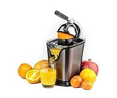 Black+Decker BXCJ100E rostfri citruspress för citrusfrukter, orange press 100W, universaltillsats för citrusfrukter, flödesstoppfunktion, hölje i rostfritt stål, professionell spakarm, utan ansträngning