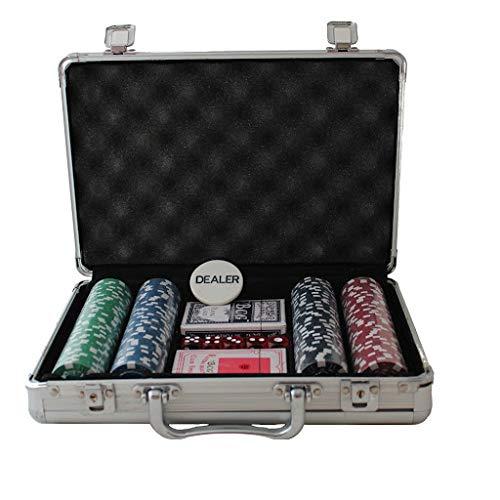 Pink Shimmer 200 Pcs Professional Casino Poker Chips Set with Aluminium Safety Box