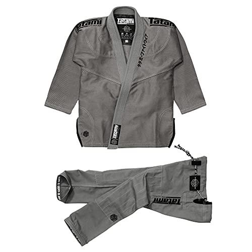Tatami Fightwear Estilo Black Label BJJ Gi - Negro sobre gris   Chaqueta de tejido de perlas de 550 g/m² con pantalones de lona de 12 onzas, compatible con IBJJF