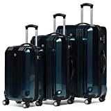 FERGÉ Kofferset Hartschale 3-teilig Cannes Trolley-Set - Handgepäck 55 cm L XL - 3er Hartschalenkoffer Roll-Koffer 4 Rollen 100% ABS & PC blau