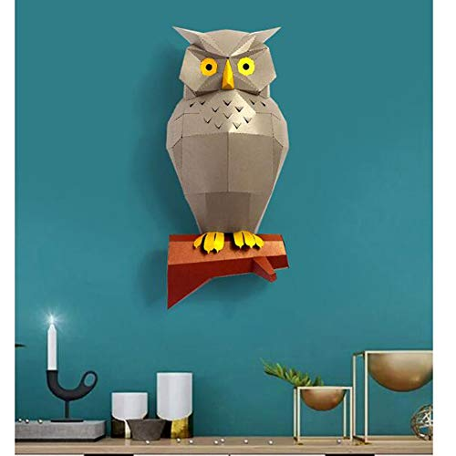 Benfa DIY 3D Owl Paper Wall Mounted Decor,Origami Animal Kit PaperCraft Building for Kids Gift,Gray