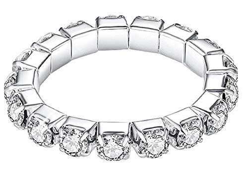 Elastische ring met transparante diamanten cadeau-idee voor vrouw en meisje strass
