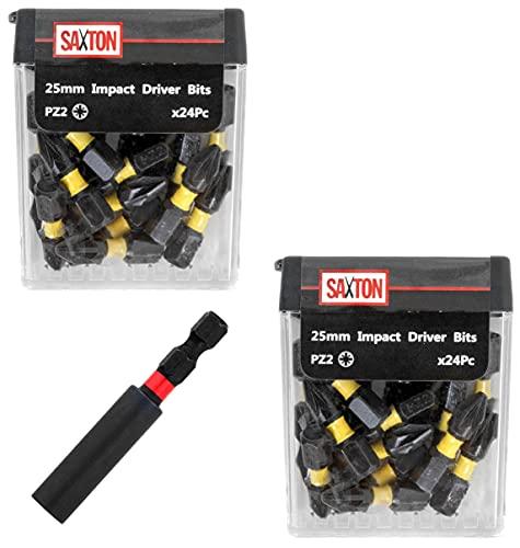 Saxton 48 x PZ2 25mm Impact Duty Screwdriver Drill Driver Bits Set + Bit Holder in Tic Tac Box