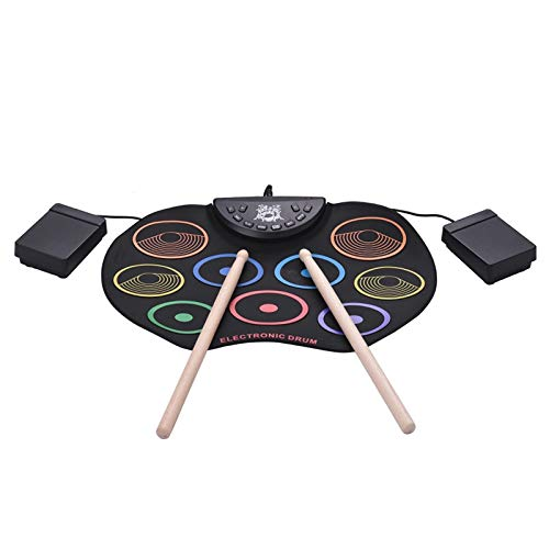 Best Prices! Saalising Colorful Hand Roll USB Electronic Drum Portable Drum Folded 9 Silicone Pads f...