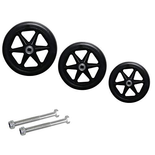 2 Stück Rollstuhlreifen Ersatz Vorder Räder Kompletträder Reifen mit Felge und Rollstuhl Kugellager,6in/7in/8 in Ersatzrollen Ersatz Lenkrollen