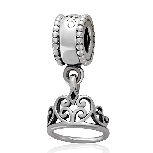 Hoobeads 925 Sterling Silver Fairy Tale Charm Snow White Crown Dangle Bead