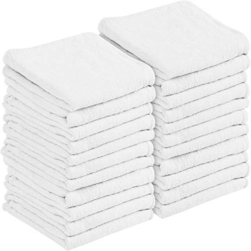 Utopia Towels 100 Pack Commercial Shop Towels - Cleaning Rags, White